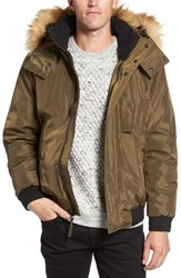 Marc New York Men's By Andrew Knox Down And Feather Bomber Jacket With Removable Faux Fur Trim Hood Grove