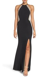 Xscape Evenings Women's Beaded Illusion Mesh And Jersey Gown