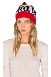 Marc By Marc Jacobs Banner Jacquard Beanie Red