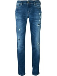 Diesel Tapered Distressed Jeans Blue