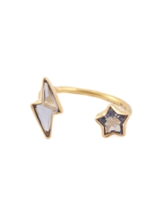 Marie Helene De Taillac Iolite Lighting Bolt And Star Ring Pink And Purple