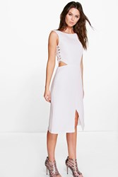 Boohoo Asia Lace Side Cutwork Fitted Dress White