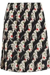 Prada Floral Print Pleated Cady Skirt Black
