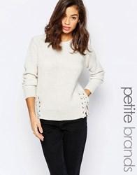 New Look Petite Side Tie Up Knitted Jumper Cream