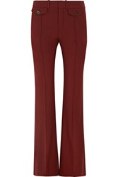 Chloe Stretch Wool Flared Pants Burgundy