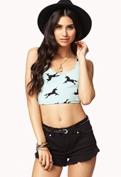 Forever 21 Unicorn Crop Top Mint Black