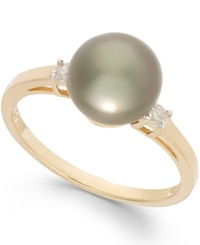 Macy's Tahitian Pearl 8Mm And Diamond Accent Ring In 14K Gold
