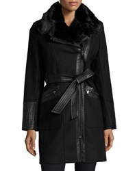 Via Spiga Wool Blend Asymmetric Zip Belted Coat Black