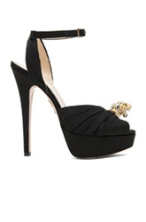 Charlotte Olympia Bruce Crepe De Chine Leopard Heels In Black
