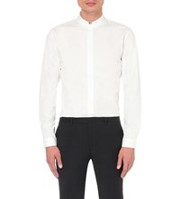 Sandro Mandarin Collar Slim Fit Cotton Shirt White