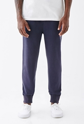 Forever 21 Contrast Waist Sweatpants Navy Heather Grey