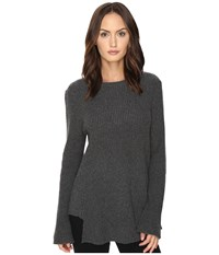 Cashmere In Love True Frill Detailed Ribbed Pullover Grey Women's Long Sleeve Pullover Gray