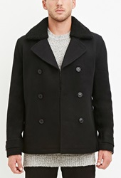 Forever 21 Faux Shearling Collar Coat Black