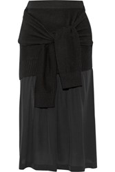 Joseph Tie Front Wool Blend And Silk Skirt Black