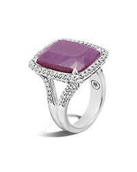 John Hardy Sterling Silver Classic Chain Magic Cut Indian Ruby Ring With Diamonds Pink Silver