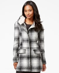 Madden Girl Madden Girl Faux Fur Trim Plaid Walker Coat Black White Plaid
