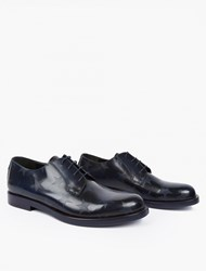 Valentino Navy Leather Star Motif Derby Shoes
