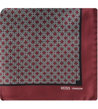Reiss Abyss Chain Print Pocket Square Burgundy