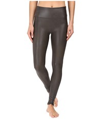 Spanx Ready To Wow Faux Leather Leggings Gunmetal Women's Casual Pants Gray