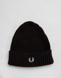 Fred Perry Ribbed Logo Beanie Black