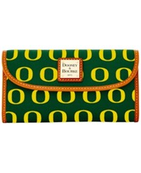 Dooney And Bourke Oregon Ducks Ncaa Large Continental Clutch Green