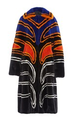Proenza Schouler Long Intarsia Mink Coat Black Orange Blue