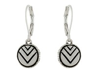 The Sak Etched Circle Drop Earrings Silver Earring