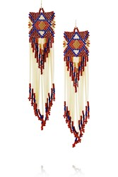 Finds Bead And Porcupine Earrings Red