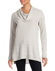 Lord And Taylor Cowlneck Sweater Light Grey Heather