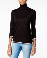 Tommy Hilfiger Colorblocked Turtleneck Sweater Only At Macy's Black Combo