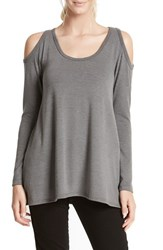 Karen Kane Women's High Low Hem Cold Shoulder Top Dark Heather Grey