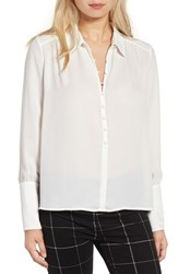 J.O.A. Women's Covered Button Crepe Blouse Off White