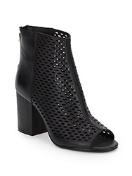 Ash Fancy Perforated Leather Peep Toe Ankle Boots Black