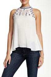 Living Doll Solid Woven Embroidered Tank White