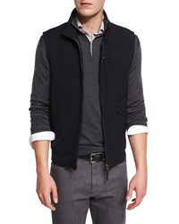 Ermenegildo Zegna Trofeo Wool Vest W Leather Trim Navy