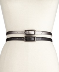 Style And Co. 2 For 1 Croc And Pewter Skinny Belts Belt Pewter Black Croco