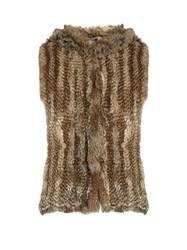 Yves Salomon Hooded Rabbit Fur Gilet Beige