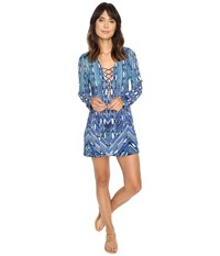 Lablanca Sabi Sands Lace Up Front Tunic Cover Up Sapphire Women's Swimwear Blue