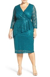 Marina Plus Size Women's Sequin Lace Faux Wrap Dress