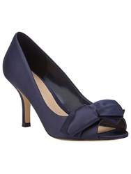Phase Eight Eva Satin Peep Toe Shoes Navy