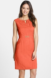 'Kenya' Embellished Woven Sheath Dress Regular And Petite Salmon