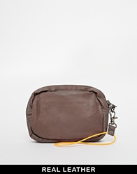 Becksondergaard Leather Pouch Clutch Bag Darkmushroom