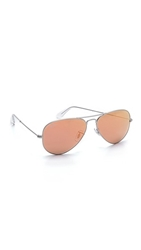Ray Ban Flash Lens Matte Aviator Sunglasses Matte Silver Brown Pink Mirror