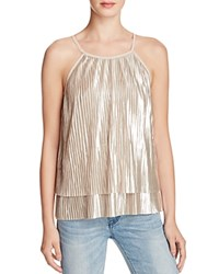 Aqua Metallic Pleated Tank Gold