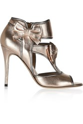 Valentino Metallic Textured Leather Sandals Rose Gold