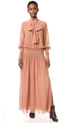 See By Chloe Tie Neck Maxi Dress Dusty Pink