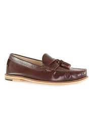 Topman Burgundy Leather Tassel Loafers Red