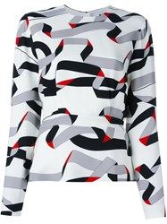 Msgm Printed Ribbon Design Blouse White