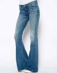 Blank Nyc Skinny Flared Jeans With Distressing Blue