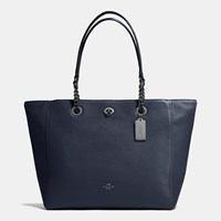 Coach Turnlock Chain Tote In Polished Pebble Leather Dark Gunmetal Navy